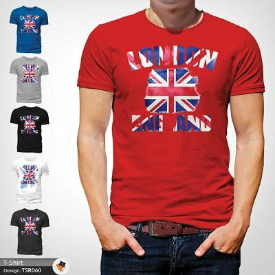 LONDON ENGLAND UNISEX TSHIRT TEE TRENDY GREAT BRITAIN GIFT UNION JACK TOP Red