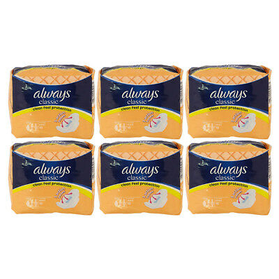 Always Classic Normal 10 x 6 Sanitary Towels Pads With Wings (60 Pads)
