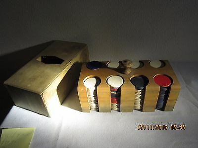 Vintage,Poker Chip Set,Wood Case,Composition,Clay?,Old Approx 216 chips