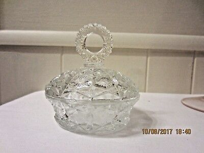 "VTG Cut Clear Pressed Glass Candy Dish Bowl & Lid with Glass handle 4 1/4"" wide"