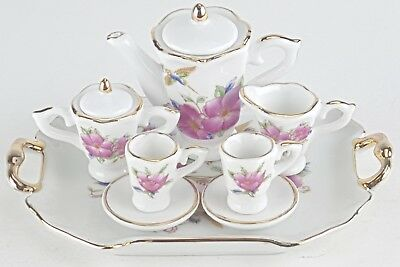 Sm Collectible Hummingbird Porcelain Tea Set Teapot Sugar Bowl Creamer 2 Teacups