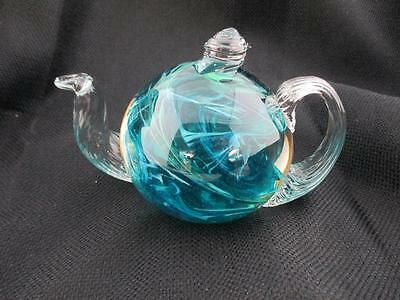 Signed K Marine Art Glass Teapot Paperweight Green Teal and Blue Swirls