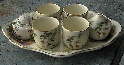 Vintage Crown Ducal Ware England Egg cup Set and Plate