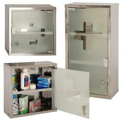 Wall Mountable Lockable Stainless Steel Medicine Cabinet First Aid Cupboard Box