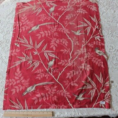 Rare Antique French Printed Bird On Tree Branches Turkey Red Fabric c1850-1860