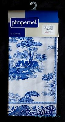 Spode Blue Italian 100% Cotton Napkins By Pimpernel