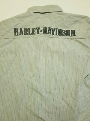 Harley Davidson Button Front Embroidered Shirt Spell Out on back Size Large