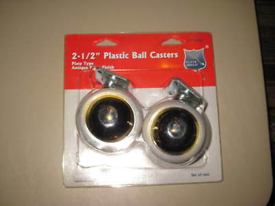 """NEW Floor Shield 2 1/2"""" Plastic Ball Casters Plate Type Antique Brass Finish"""