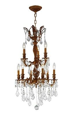 """Versailles 9 Light French Gold Crystal Chandelier 19""""W x 33""""H Small Two 2 Tier"""