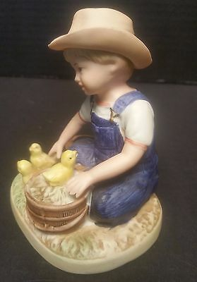 Denim Days Homco Home Interiors Porcelain New Beginnings Figurine Boy & Duckling