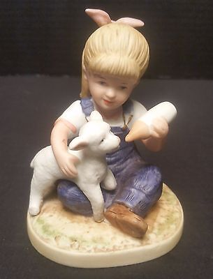 Denim Days Homco Home Interiors Porcelain New Beginnings Figurine Girl with Lamb