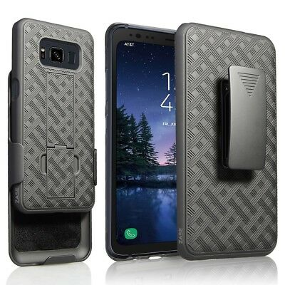 Samsung Galaxy S8 ACTIVE Case Black Holster Swivel Belt Clip Hard Slim Cover