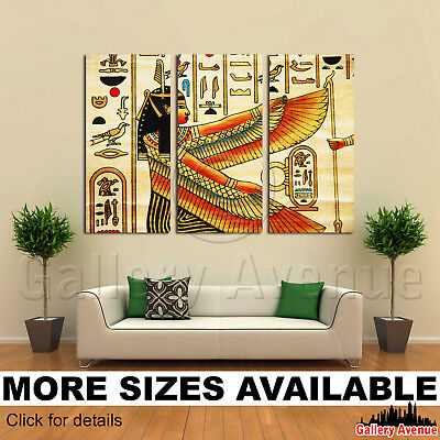 3 Panel Canvas Picture Print - Papyrus elements of egyptian ancient history 3.2