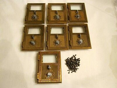 Vintage 1960 ORO Brass Glass US Post Office Mailbox Doors With Combination Lock