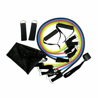 11in1 Resistance Band Set Yoga Pilates Latex Exercise Fitness Workout Door Hook