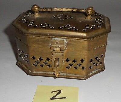 Vintage small decorative pierced solid Brass Box incense burner potpourri 2