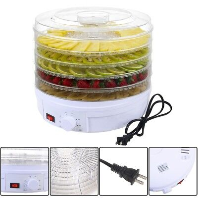 5 Tray Electric Food Dehydrator Fruit Vegetable Dryer Beef Snack Jerky White