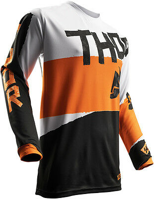 THOR MX Motocross 2017 PULSE TAPER Jersey (White/Orange) Choose Size