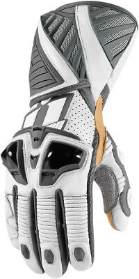 ICON HYPERSPORT Long Leather Motorcycle Riding Gloves (White) Choose Size