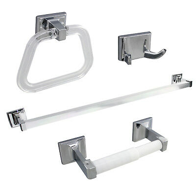 4 Piece Towel Bar Set Bath Accessories Bathroom Hardware - Polished Chrome
