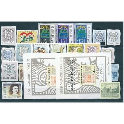 1993 Estonia Eesti Year Complete 22 Values And 2 Bf New Mnh Mf40543