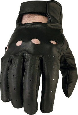 Z1R Men's 243 Perforated Leather Open-Back Motorcycle Gloves (Black) Choose Size