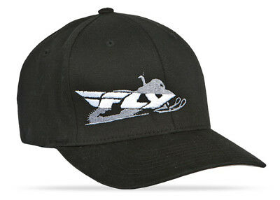 FLY RACING Primary Hat, Snowmobile Curved Brim FlexFit (Black) Choose Size