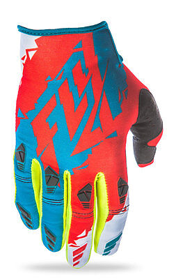 FLY RACING MX Motocross MTB BMX 2017 KINETIC Gloves (Dark Teal/Red) Choose Size