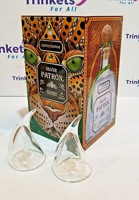 Patron Silver Limited Edition Storage Tin w/ 2 Hornitos Shot Glasses