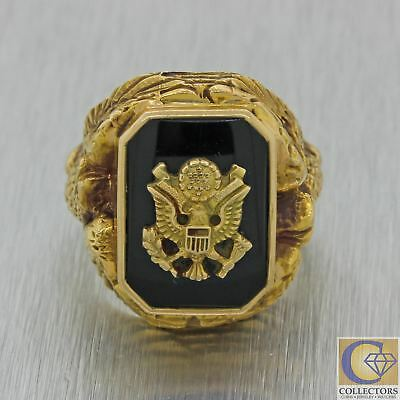 Mens Vintage Estate 10K Yellow Gold US Army Eagle Onyx Ring