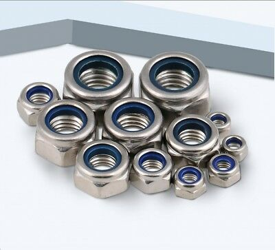 G316 Marine A4 Stainless Metric Coarse Hex Nyloc Insert Nuts M3,4,5,6,8,10,12