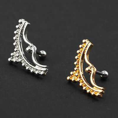 2pc Bow Arch Surgical Steel Bar Barbell Cartilage Helix Tragus Ear Stud Piercing