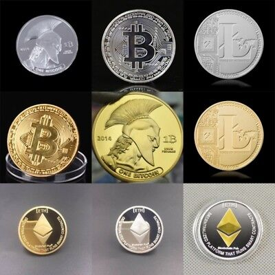 Bitcoin Litecoin Ethereum Coins Commemorative Round Collectors Coin With Case