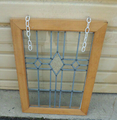 50689 Stain Glass Leaded Window in Wood Picture Frame  21 x 30