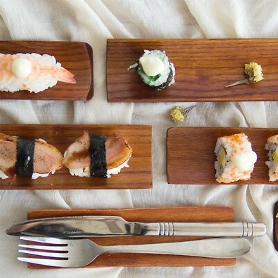 Wooden Dumplings Sushi Serving Tray Oblong Plate Salad Bread Dishes
