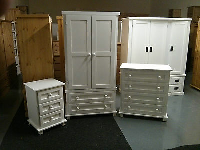 Pine Furniture Egyptian 3 Piece Bedroom Pack White Shabby Chic No Flat Packs