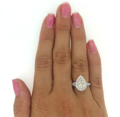 2.25 Ct Pear Shape Cut F/si1 Diamond Solitaire Engagement Ring 14K White Gold