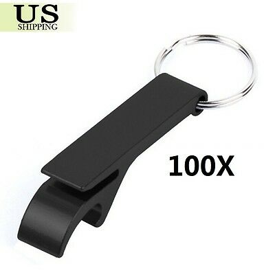 100Pcs Bottle Opener Key Ring Chain Keyring Keychain Metal Beer Bar Tool Claw