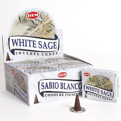 10 x WHITE SAGE INCENSE CONES (1 Packet) Cleansing Protection Healing By HEM