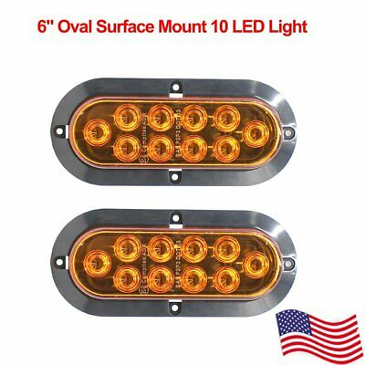 "2X 12V Surface Mount Oval Amber 6"" 10LED Marker Turn Signal Car Truck Trailer US"