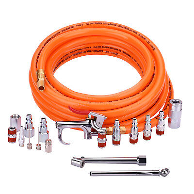 """3/8""""X 25ft PVC Air Compressor Hose With 17 Piece Air Tool and Accessory Kit."""