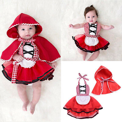 Girl Baby Toddler Cute Red Xmas Little Princess Fancy Dress Costume Outfit 0-24M
