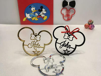 Personalized Any Name Mickey Mouse Minnie Ears Tree Ornament Disney Xmas Gifts