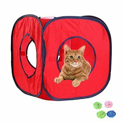 Emours Flexible Pop Out Cat Kitty Play Cube Expandable Play Tunnel Cat Toys,with