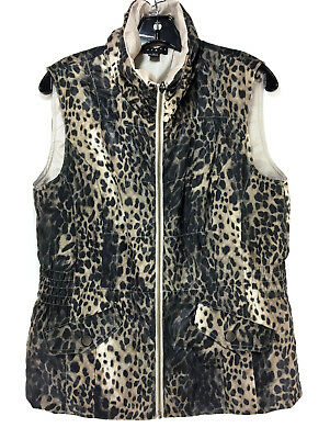 TRIBAL Women's Animal Cheeta Print Sleeveless Puffer Winter Vest Size M #1207