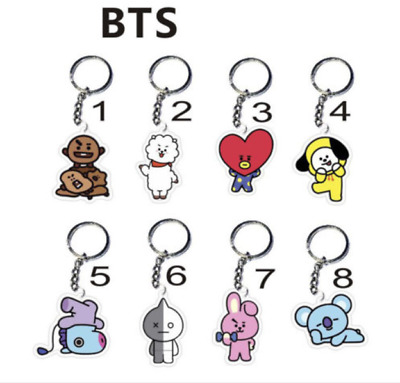 Kpop BTS BT21 8 Style Cute Keyring Love Yourself CHIMMY TATA COOKY MANG RJ KOYA
