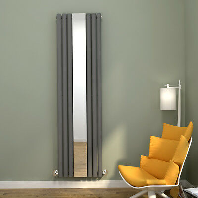 Vertical Oval Column Designer Radiator with Mirror Anthracite 1800x500mm