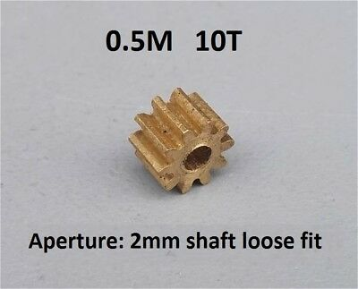 5PCS Brass Metal Gear 0.5M 10T Aperture 2mm Loose Match for Toy Motor DIY