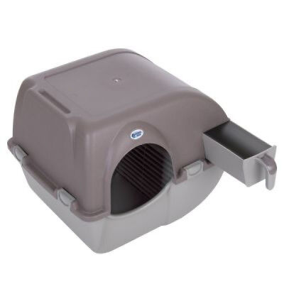 Cat Litter Box Self Cleaning Pet Kitten Omega Paw RollnClean Removable Tray Grey