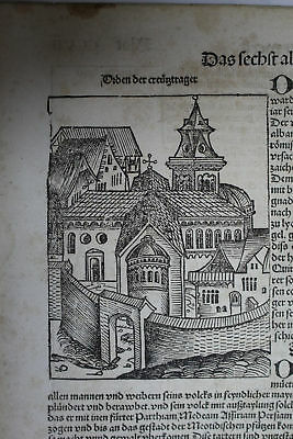 1st edition , SCHEDEL Europe 700 year,  incunable leaf  1493 liber chronicarum